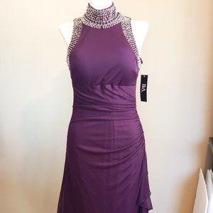 NWT Stretch PURPLE Beaded HOT Mini Hi Neck Dress 6